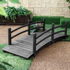 6-Ft Outdoor Wooden Garden Bridge with Handrails in Dark Charcoal Wood Stain - Loluxe