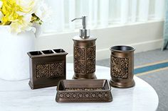 SILOKO Retro Classic Solid Floral Bathroom Accessory Dcor Set 4 piece Lotion DispenserSoap DishToothbrush HolderTumbler Antique Gold -- See this great product.