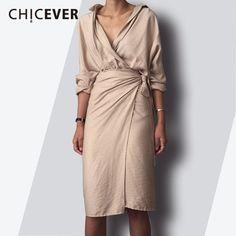 CHICEVER 2018 Spring Fashion Women Dress Sexy V Neck Slim Hem Split Casual  Temperament Bandage Dresses 9705e0722d2c