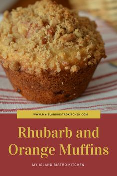These delightful Rhubarb and Orange Muffins have a tasty streusel topping. A springtime treat when the rhubarb is in season. Rhubarb Muffins, Rhubarb Desserts, Healthy Rhubarb Recipes, Rhubarb Ideas, Rhubarb Cobbler, Muffin Recipes, Baking Recipes, Dessert Recipes, Bar Recipes