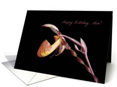Happy Birthday, Mom-- Purple and Pink Orchid on Black. card