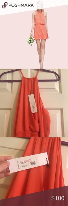 Parker New York Coral Dress XS Parker coral dress. Gorgeous color. Perfect for Easter. Clasps at the neck and has as blouson waist with a slit neckline. Size XS. 100% silk. Completely lined. Parker Dresses