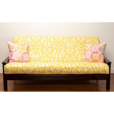 The Cheerful Damask Pattern On This Polyester Futon Cover Brings A Sunny Splash Of Color To Your Den Or Guestroom Available In Both Full And Queen Sizes