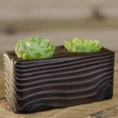 Double Succulent Shou Sugi Ban Wood Planter by HammerandBrush, $50.00