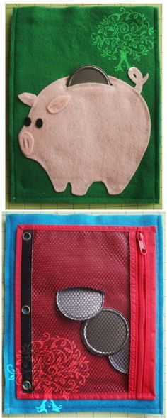 """Front and back pages of the """"Piggy Bank"""" quiet book. – Darl Bennett Front and back pages of the """"Piggy Bank"""" quiet book. Front and back pages of the """"Piggy Bank"""" quiet book. Diy Quiet Books, Baby Quiet Book, Felt Quiet Books, Quiet Book For Toddlers, Book Projects, Sewing Projects, Diy Fidget Toys, Silent Book, Sensory Book"""
