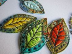 Embroidered wool and velvet leaves in varying colors. Dog-Daisy Chains: textiles art cute folk art boho brooches to make for gifts for friends Fabric Art, Fabric Crafts, Sewing Crafts, Fabric Brooch, Felt Brooch, Wool Embroidery, Embroidery Stitches, Pillow Embroidery, Embroidery Designs