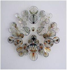 Alan Bur Johnson makes delicate clustered sculptures that consist of transparencies in silver frames mounted on dissection pins Art Textile, A Level Art, Gcse Art, Science Art, Art Design, Art Plastique, Installation Art, Oeuvre D'art, Fiber Art