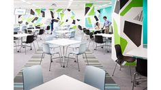 Graphical treatment of wall designs for office interiors and chill space and cafe area. Green and blue abstract shapes fill the walls with vinyl wall coverings. http://www.vinylimpression.co.uk/pages/office-branding