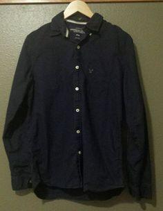 Classic! Men's American Eagle Vintage Fit Navy Blue Button Down Up Front Shirt Size Medium