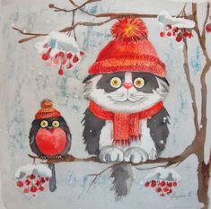 Make-Up Art Weihnachten - Gif Life Christmas Illustration, Illustration Art, Illustrations, Christmas Animals, Christmas Cats, Make Up Art, Art For Kids, Diamond Art, Christmas Paintings