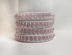 Wrap Bracelet - Pink Crystals on White Leather