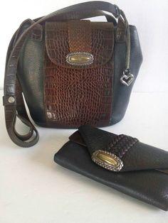 Vintage Brighton Pebbled Leather Shoulder Bag Purse & Wallet SET Free USA Ship