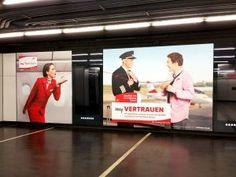 AUA Stationbranding Vienna Underground Station Schwedenplatz #Foliendesign #Werbetechnik #rswien #Project #Branding Banner, Flat Screen, Visual Communication, Advertising, Creative, Banner Stands, Banners, Flatscreen
