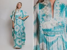 Hippie caftan Vintage 60s 70s embroidery caftan by Raxclothing