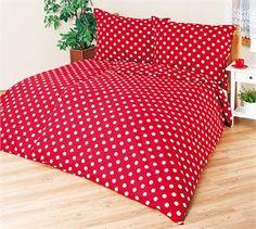 Bavlnené obliečky Červená bodka, 140 x 220 cm, 70 x 90 cm