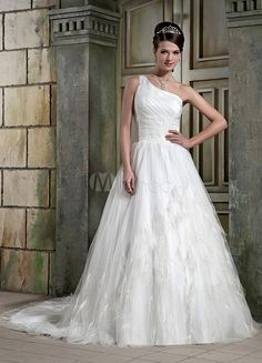 #Milanoo.com Ltd          #Wedding Dresses          #Ivory #One-Shoulder #Satin #Feather #A-line #Wedding #Dress                  Ivory One-Shoulder Satin Net Feather A-line Wedding Dress                                               http://www.seapai.com/product.aspx?PID=5693914