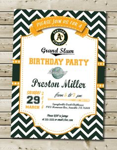 Custom Printable MLB Oakland Athletics Birthday Party Invitation by PurplelephantDesigns on Etsy
