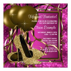 Elegant black, hot pink and gold glitter high heel shoes woman's 30th 40th 50th 60th 70th 75th birthday party invitations. This woman's elegant hot pink birthday party invitation is easily customized for your party or event by adding your event details, font style, font size & color, and wording.