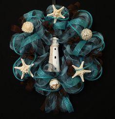 Lighthouse Deco Mesh Wreath