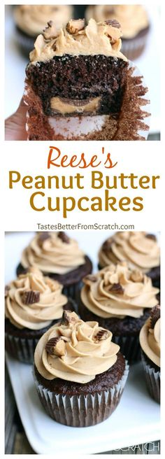 Chocolate cupcakes with peanut butter frosting and a Reese's chocolate baked in the center! These Reese's Peanut Butter Cupcakes are always a crowd favorite! Chocolate cupcakes with peanut butter frosting and a Reese's chocolate baked in the center. Reeses Peanut Butter Cupcakes, Peanut Butter Recipes, Reeces Cake, Peanut Butter Cup Cake Recipe, Chocolate Peanut Butter Dessert, Just Desserts, Delicious Desserts, Dessert Recipes, French Desserts