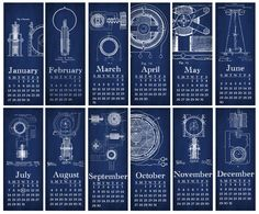 DIY Printable Tesla Inventions Blueprint Wall Calendar - 4-1/4x11 inch. $5.00, via Etsy.