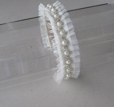 White Pearl Crystal Beaded Tulle Trim Headband by HettieSilovitz