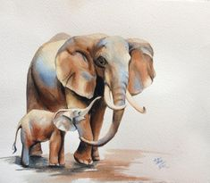 Type 2 animal in a likewise representation~ (Bethany Cannon Art Studios   Elephants, Mom and Babe)