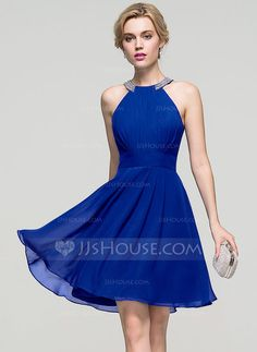 A-Line/Princess Scoop Neck Knee-Length Ruffle Beading Zipper Up Regular Straps Sleeveless No Other Colors Spring Summer Fall General Plus Chiffon Homecoming Dress
