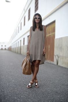 tent dress and metallic sam edelman heels