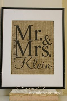 Personalized Wedding Burlap Print...Great for wedding, anniversary or Valentine's gift!