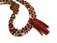 African Tribal Brown Brick Red Wood Vintage Beads by JustAspire, $25.00