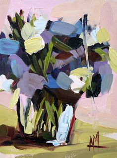 Lisianthus no. 2 Original Floral Oil Painting by Angela Moulton