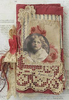 MIXED MEDIA FABRIC COLLAGE OF LITTLE ANGELS AT CHRISTMAS Collage Book, Mixed Media Collage, Book Art, Journal Covers, Book Journal, Altered Books, Altered Art, Fabric Art, Fabric Books