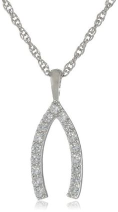 Platinum Plated Sterling Silver Round Cubic Zirconia Wishbone Necklace -