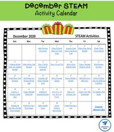 This calendar is filled with fun STEAM activites with December holiday themes. Preschool Science Activities, Steam Activities, Science Experiments, Christmas Activities For Kids, Early Learning, Calendar 2020, December, Holiday Themes, Christmas Goodies
