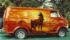 1970s custom van air brush paint job