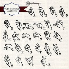 Instant Download  Sign Language Alphabet by TanglesTreasures, $4.50