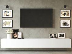 Living Tv, Living Room Wall Units, Living Room Tv Unit Designs, Living Room Grey, Home Living Room, Living Room Decor, Modern Living, Floating Tv Cabinet, Floating Tv Unit