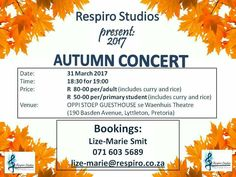 31 Mar - Respiro Singing Studio  Autumn Concert. Book now and support local and new artists. See image for all details!