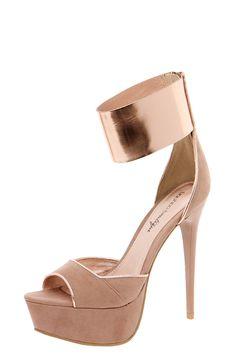 Boutique Aurora Metallic Trimmed Ankle Cuff Platform Heels
