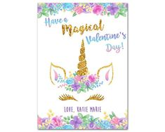 Beautiful unicorn valentines day cards, to wish your friends a magical valentines day - with a pastel purple and pink unicorn face design, accented with faux gold foil and trimmed in flowers. Personalized with your signature. Perfect to hand out to classmates and friends on
