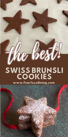 If you love chocolate, these homemade Swiss Brunsli cookies. These chocolate cookies are perfect for using cookie cutters. They are naturally gluten free and have a dairy-free option too. www.fearlessdining.com Gluten Free Chocolate Cake, Love Chocolate, Chocolate Cookies, Chocolate Desserts, Best Gluten Free Cookies, Gluten Free Cookie Recipes, Gluten Free Desserts, Star Cookies, Dairy Free Options