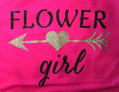 Flower Girl heart & arrow Glitter Bling Shirt, Bridal, Bachelorette Apparel