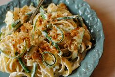 Lemony Courgette and Fine Bean Tagliatelle in Herbed Creme Fraiche