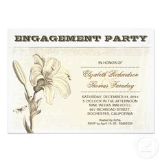 vintage antique old aged grungy engagement party - shower invitations