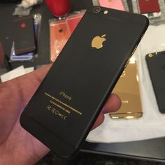 iPhone 6S  Plus Matte Back Housing with Gold Logo and Buttons (Tech Aesthetic Black)