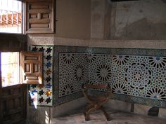 Decorative mosaic tiled walls in the Mexuar, Nasrid Palace, Alhambra