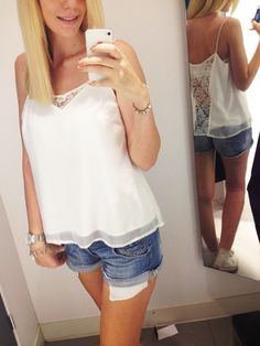 My favorite outfit for shopping last summer. I'm in live with those cute jeans shorst and this adorable white top with lace back detailing. H&M haha