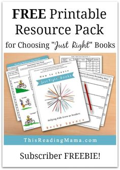 """FREE Printable Resource Pack for Choosing """"Just Right"""" Books   This Reading Mama"""