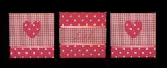 Drieluik van stoffen schilderijtjes hartje rose serie Sanne
